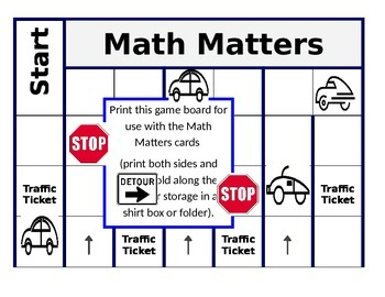 Math Matters Board Game: Place Value, Decimals and Math Terms