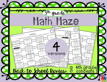 Math Maze - 5th Grade Back to School