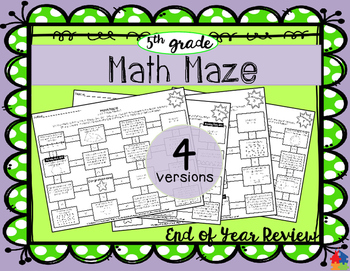 Math Maze - 5th Grade Summer / End of Year Review