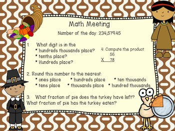 Math Meeting 7 Days (Thanksgiving theme)