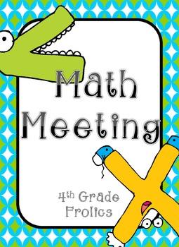 Math Meeting Headers - Turquoise/Lime/Gray Theme