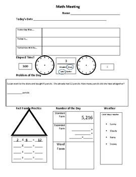 Math Meeting Paper Freebie
