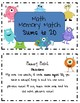 Math Memory Match with Sums of 20