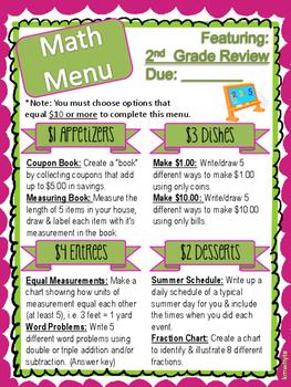 Math Menu - 2nd Grade Review