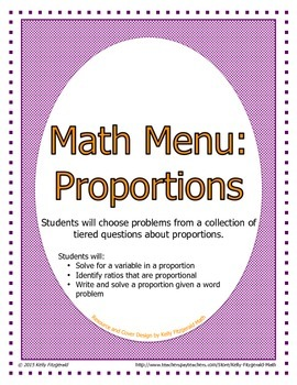 Math Menu: Proportions - Mixed Practice