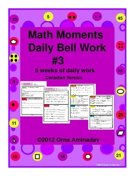 Math Moments Daily Bell Work Practice # 3 Canadian Version