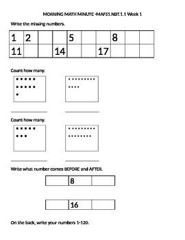 Math Morning Work- Florida Standards Alligned- first 6 weeks