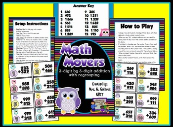 Math Movers 3 Digit Addition With Regrouping Review Game
