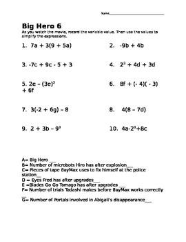 Math Movie- Big Hero 6 Math Practice