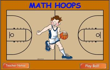 Math Multiplication Hoop Shoot Smart Board game (2 digits