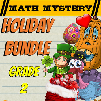 2nd Grade Common Core Math Mystery Review - HOLIDAY Bundle
