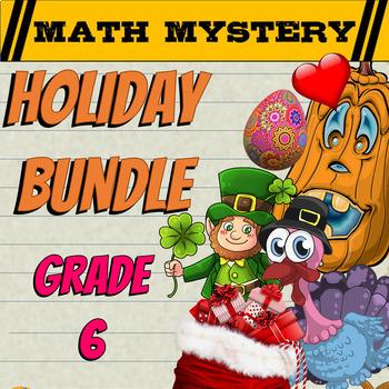Fun Math Activities: Math Mystery HOLIDAY Bundle {GRADE 6}