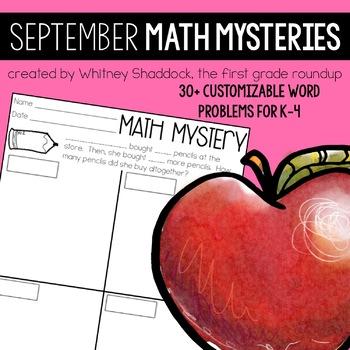 Math Word Problems September {Customizable for K-4}