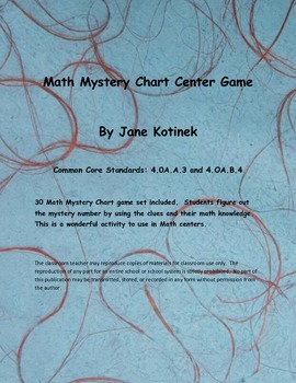 Math Mystery Chart Center  Use clues to find the mystery number