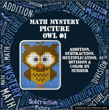 Math Mystery Picture Owl #1 Addition Subtraction Multiplic