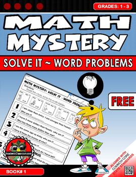 FREE Math Mystery: Word Problems ~ Solve it Riddles Grades 1-3