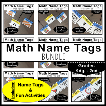 Math Name Tags Bundle: Grades K - 2