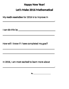 Math New Year's Resolutions 2016