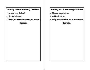 Math Notebook: Adding and Subtracting Decimals