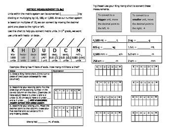 Math Notebook Notes: Equivalent Metric Measurements 5.8c