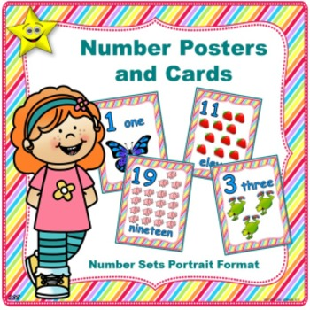 Number Posters and Cards, Number Set Portrait