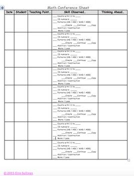 Math Observation Sheet
