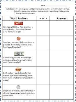 Math One-Step Real-World Word Problems Using Addition/Subt