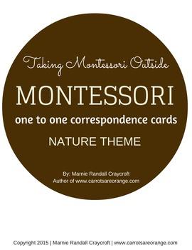 Math One to One Correspondence Cards - Nature Theme - Montessori