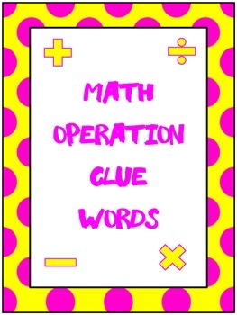 Math Operation Clue Word Posters