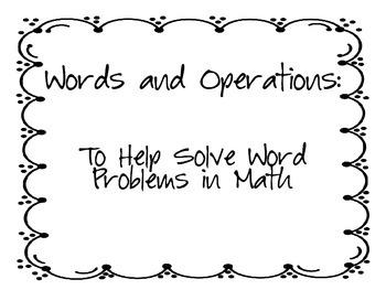 Math Operation Key Words Activity