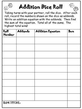 Math Operations Dice Roll