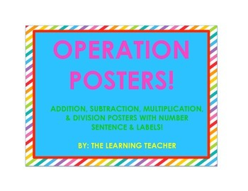Math Operation Posters (Rainbow Stripes)!