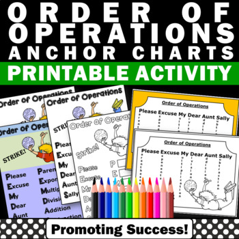 order of operations math posters anchor charts PEMDAS