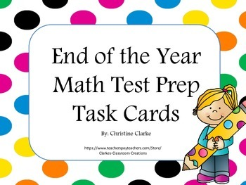 PARCC End of the Year Math Test Prep Task Cards
