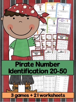 Math Pirate Number Identification 20-50 Games and Worksheets K-2