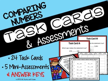 Math Task Cards & Assessments for Comparing Numbers