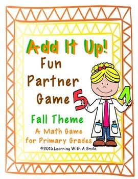 Math Partner Game: ADD IT UP!  (Fall Edition) Great Math Center!