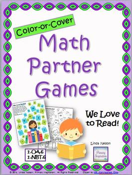 Math Partner Games for Addition and Subtraction: We Love to Read!