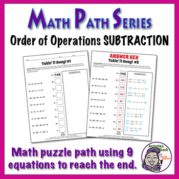 Math Path - Order of Operations - Subtraction