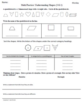 Math Plans & Sheets(3.G.1) Shapes  3rd Grade Common Core 4