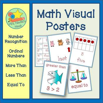 Math Posters - Quantity, Number Recognition & Ordinal Numbers