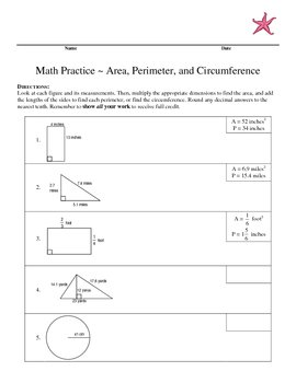 Math Practice Area, Perimeter, and Circumference