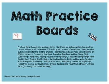 Math Practice Boards