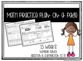 1st Grade Math Practice Plan-on-a-Page- 15 Weeks + Assessm