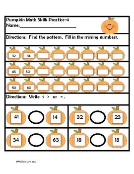 Math Practice Sheets  2nd Grade Pumpkin Theme