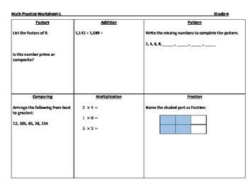 Math Practice Worksheets-Grade 4