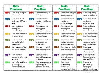 Math Practices Bookmark