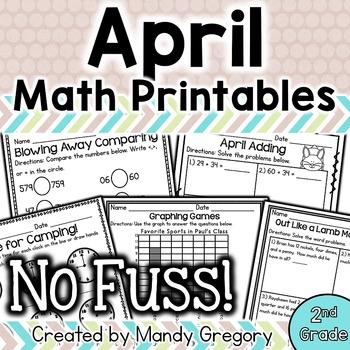 Math Printables for April -2nd Grade (No Fuss!)