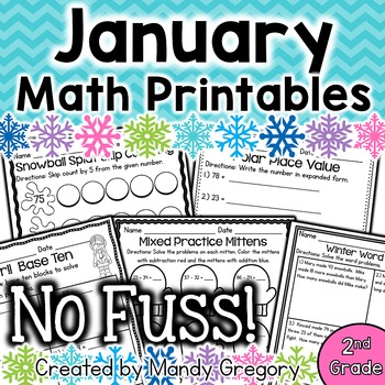 Math Printables for January (No Fuss!)