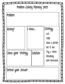 Math Problem Solving Planning Sheet